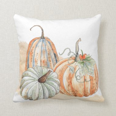 Fall Watercolor Pumpkins Throw Pillow