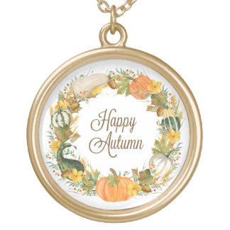 fall watercolor wreath gold plated necklace