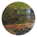 Fall Waterfall and Creek Pennsylvania Nature Photo Classic Round Sticker