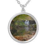 Fall Waterfall and Creek Pennsylvania Nature Photo Silver Plated Necklace