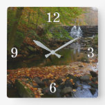Fall Waterfall and Creek Pennsylvania Nature Photo Square Wall Clock