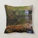 Fall Waterfall and Creek Pennsylvania Nature Photo Throw Pillow