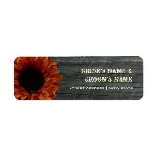 Fall Wedding Address Label - Sunflower & Barnwood label