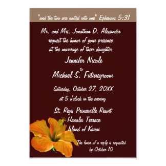 Fall Wedding Autumn Colors : Two Become One 5x7 Paper Invitation Card