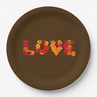 Fall Wedding Autumn Rustic Love Leaves Brown Paper Plate