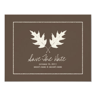 Fall Wedding Brown Save The Date Oak Leaves Card