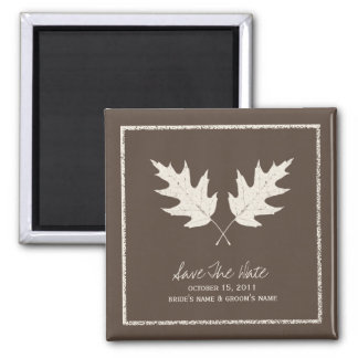 Fall Wedding Brown Save The Date Oak Leaves Magnet