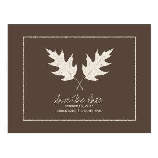 Fall Wedding Brown Save The Date Oak Leaves Postcard