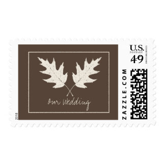 Fall Wedding Brown With Oak Leaves Postage Stamp
