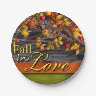 Fall Wedding Colors Rustic Autumn Scene Love Paper Plate