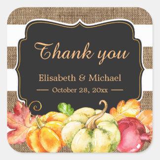 Fall Wedding Favor Autumn Pumpkin Burlap Thank You Square Sticker