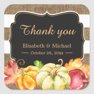 Fall Wedding Favor Autumn Pumpkin Burlap Thank You Square Sticker