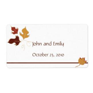 Fall Wedding Favor Labels