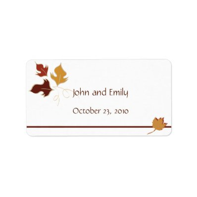 Fall Wedding Favor Labels Custom Address Label