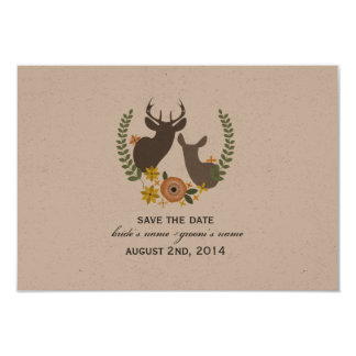 "Fall Wedding Floral Deer Save The Date 3.5"" X 5"" Invitation Card"