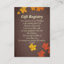 fall wedding Gift registry  Cards