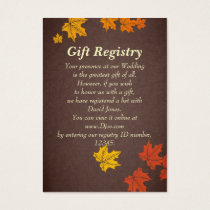 fall wedding Gift registry  Cards