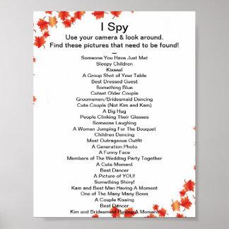 Fall Wedding I Spy Game Poster