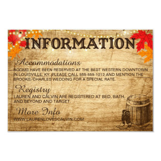 Fall Wedding Information card for Rustic Wedding