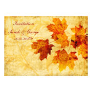 autumn leaves rustic fall wedding invites by mgdezigns