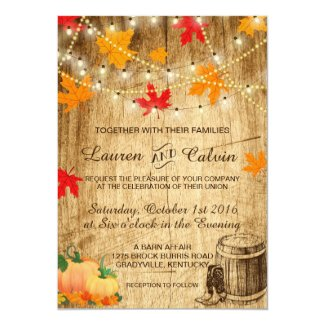 Fall wedding invitation for a rustic wedding