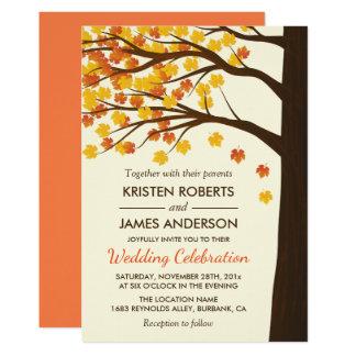 Fall Wedding Invitation | Maple Leaves Autumn Tree