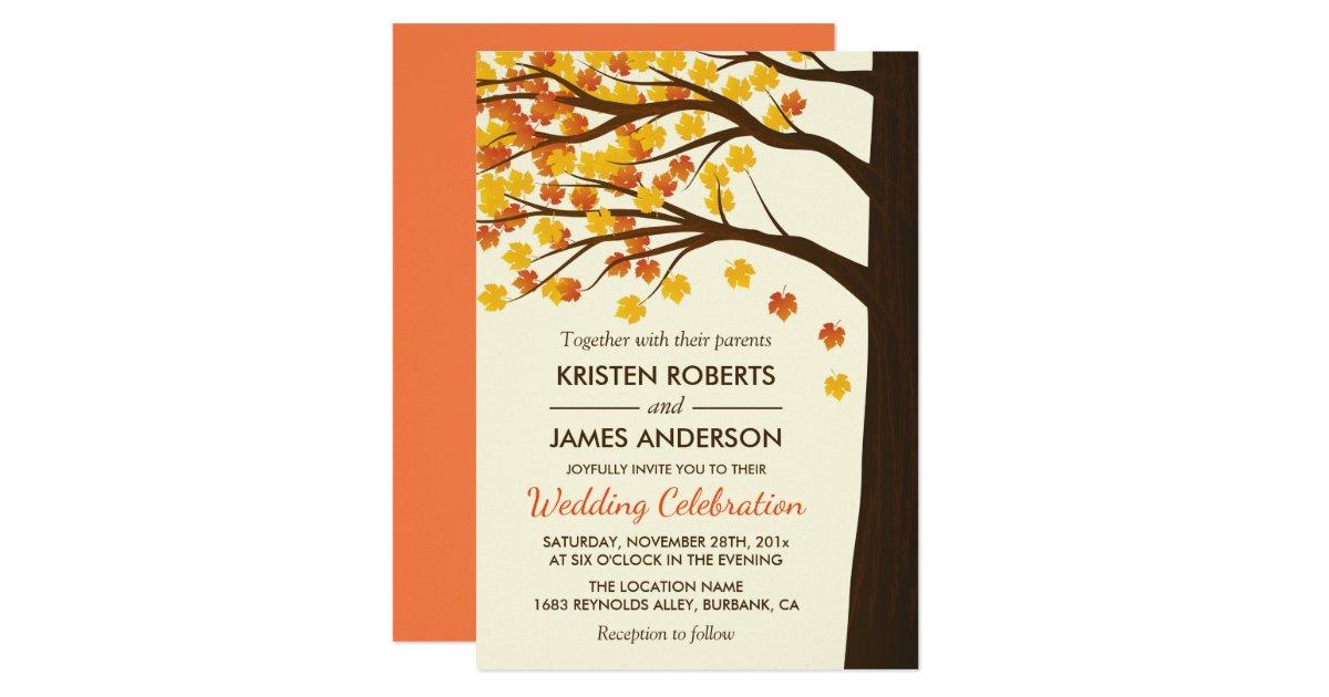 Fall Wedding Invitation   Maple Leaves Autumn Tree