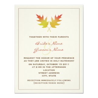 Fall Wedding Invitation - Oak Leaves