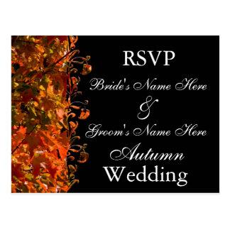 Fall Wedding Invitation RSVP Autumn Wedding Postcard