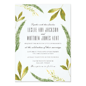 Fall Wedding Invitation - Rustic Harvest Greenery