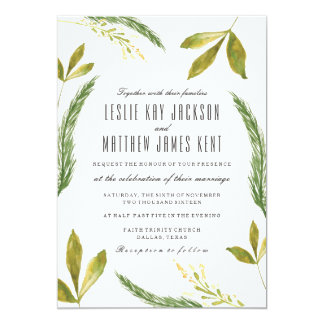 Fall Wedding Invitation - Rustic Harvest Greenery