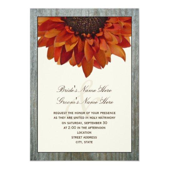 Fall Themed Wedding Invitations: Fall Wedding Invitation - Sunflower & Barnwood