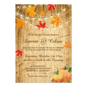 Fall Wedding Invitation With Leaves And Pumpkins