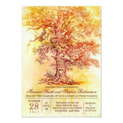 Fall wedding invitation with old oak tree