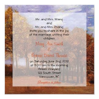 Fall wedding invitations. Autumn Landscape Personalized Announcement