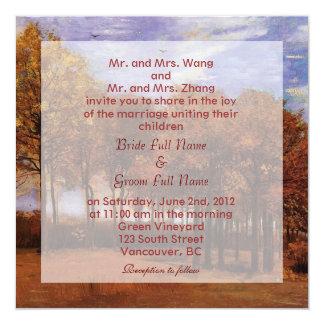 Fall wedding invitations. Autumn Landscape Custom Announcement