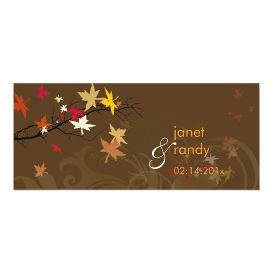 Fall wedding invitations/electric pink leaves card