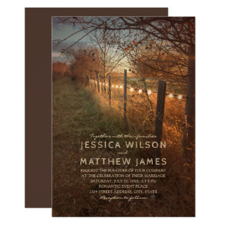 Fall Wedding Invitations Rustic Autumn Farm Lights