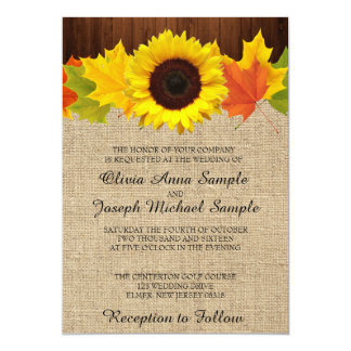 Fall Wedding Invitations With Sunflower And Leaves