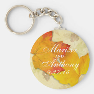 Fall Wedding Leaves Name and Date Key Chain