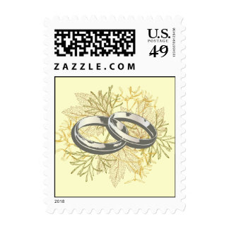 Fall Wedding Leaves Postage Stamps
