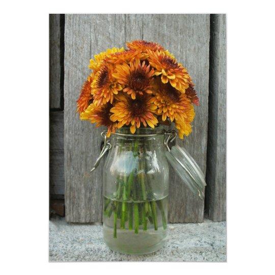 Fall Wedding Mason Jar Flowers & Barnwood Card