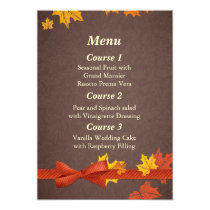 fall wedding menu card