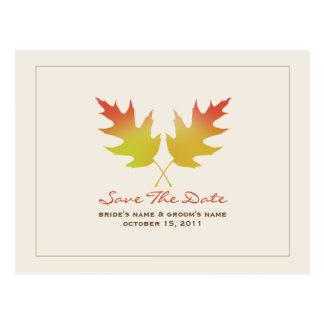 Fall Wedding Oak Leaves Save The Date Postcard