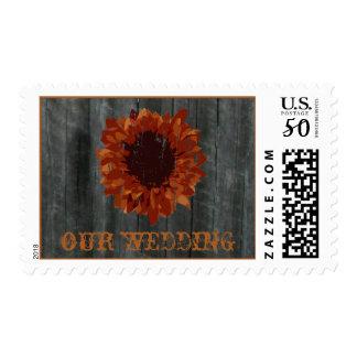Fall Wedding - Orange Sunflower & Barnwood Postage