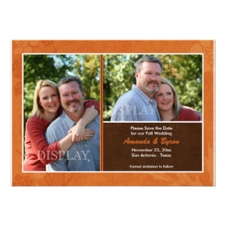 Fall Wedding Photo Save the Date Announcement