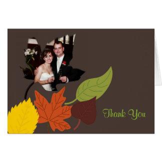 Fall Wedding Photo Thank You Card