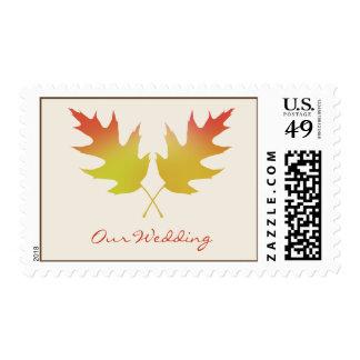 Fall Wedding Postage - Oak Tree Leaves