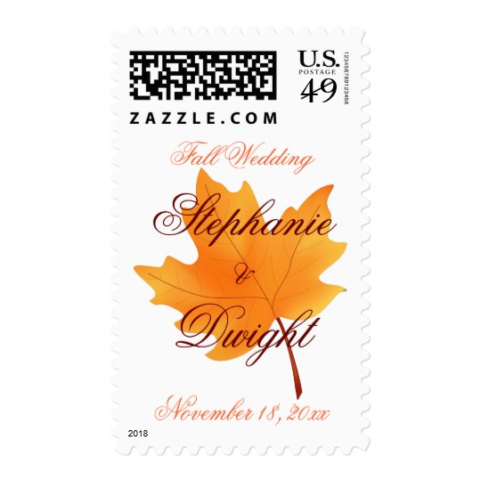 Fall Wedding Postage Stamp