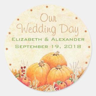 Fall Wedding Pumpkin Guest Favor Thank You Classic Round Sticker